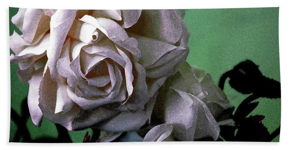 White Rose Beach Towel featuring the photograph Dont Be Sad by Susanne Van Hulst