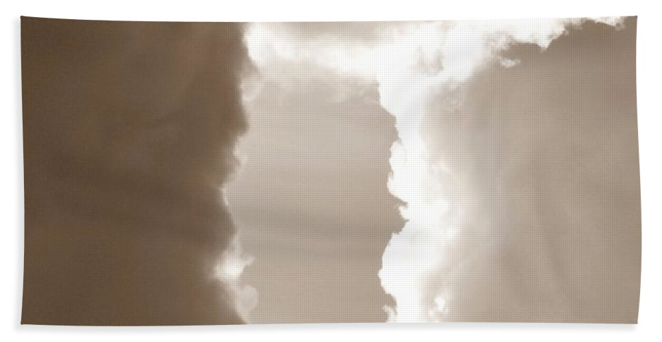 Cloud Beach Towel featuring the photograph Donut Hole - Sepia by Rich Bodane