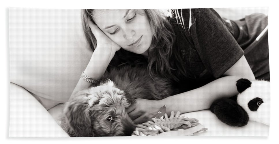 Golden Doodle Beach Towel featuring the photograph Doodling The Day Away by Madeline Ellis