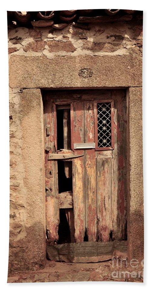 Castelo Rodrigo Beach Towel featuring the photograph Door #3 by Csilla Florida
