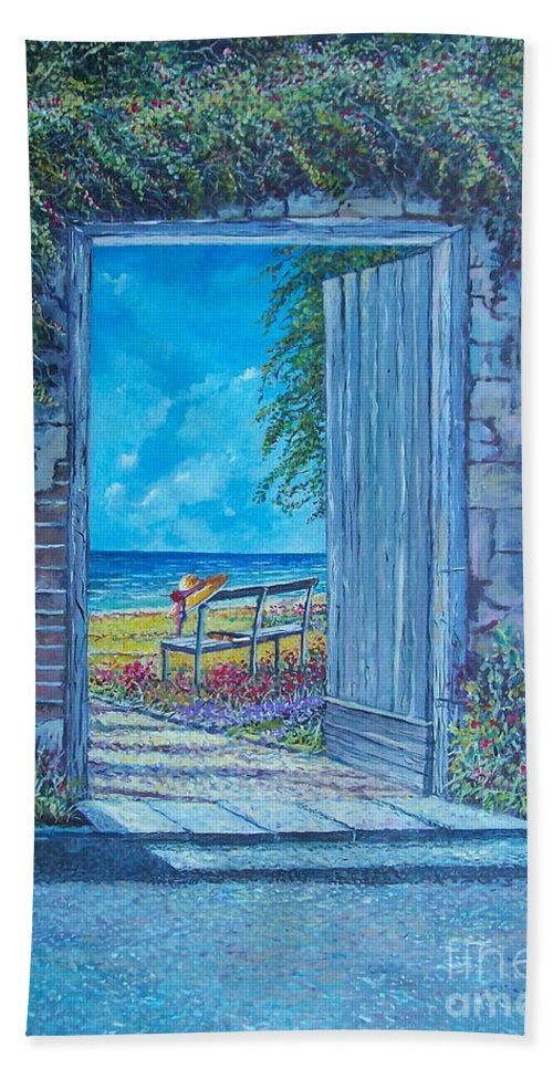 Original Painting Beach Towel featuring the painting Doorway To ... by Sinisa Saratlic