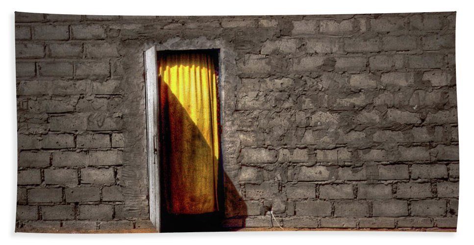 Yellow Beach Towel featuring the photograph Doorway To A Yellow Curtain by Wayne King