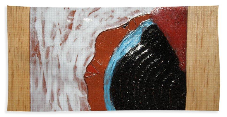 Jesus Beach Towel featuring the ceramic art Doreen - Tile by Gloria Ssali
