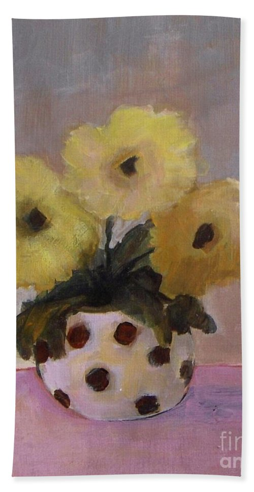 Dotted Beach Towel featuring the painting Dotted Vase With Yellow Flowers by Vesna Antic