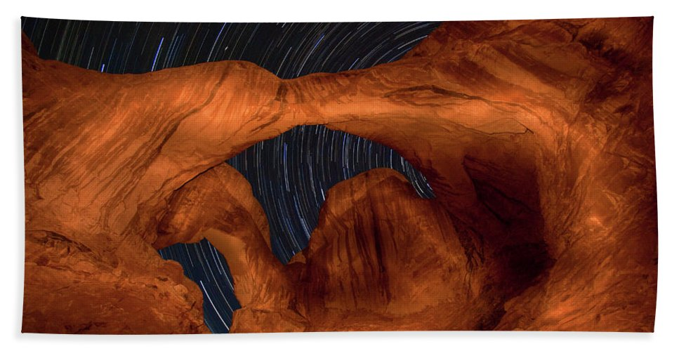 3scape Beach Sheet featuring the photograph Double Arch Star Trails by Adam Romanowicz