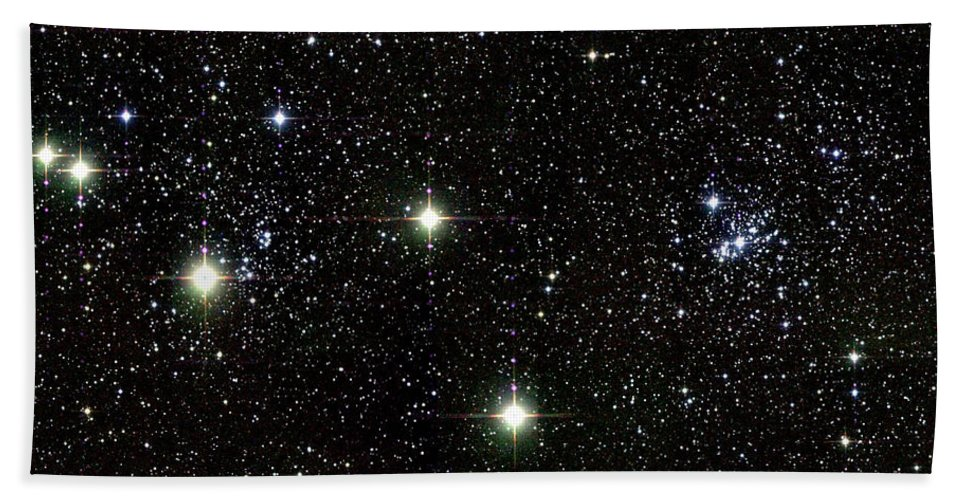 Science Beach Towel featuring the photograph Double Cluster, Ngc 869 And Ngc 884 by Science Source