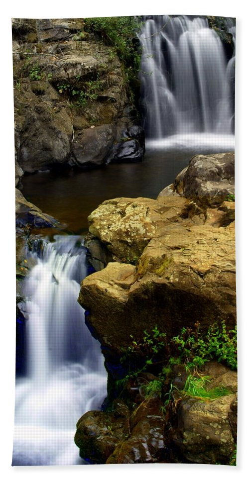 Waterfall Beach Towel featuring the photograph Double Drop by Marty Koch