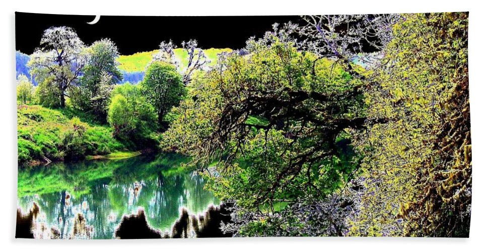 Umpqua River Beach Towel featuring the digital art Double Moon by Will Borden