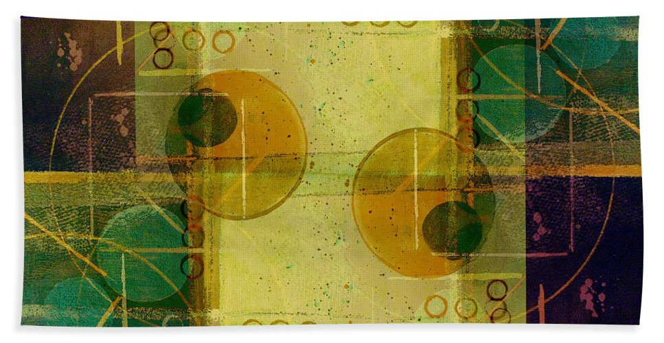 Abstract Beach Towel featuring the digital art Double Vision by Ruth Palmer