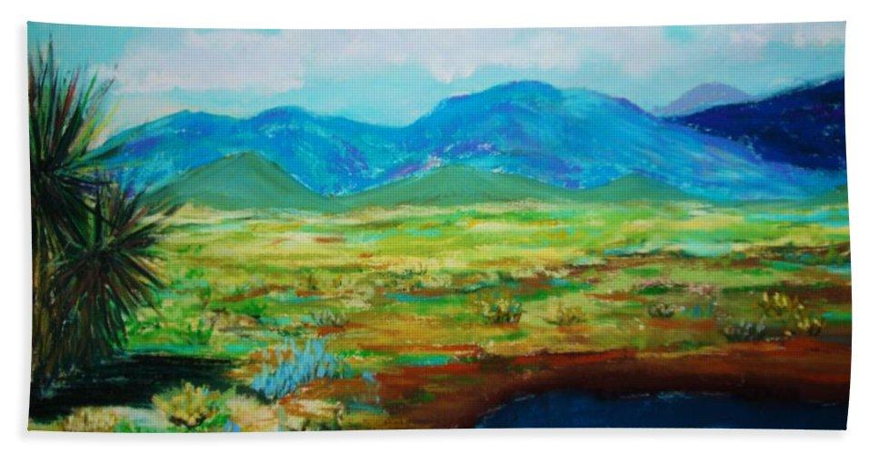 Desert Beach Towel featuring the pastel Douglas by Melinda Etzold