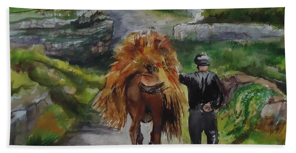 The Hay Has To Be Moved On This Donkeys Back. Farm Beach Towel featuring the painting Down A Country Lane by Charme Curtin