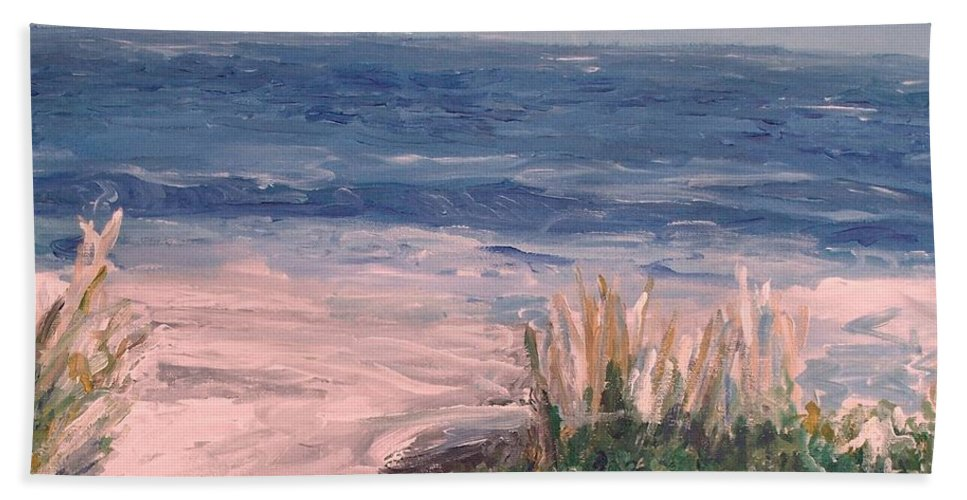 Ocean Beach Towel featuring the painting Down The Shore by Eric Schiabor
