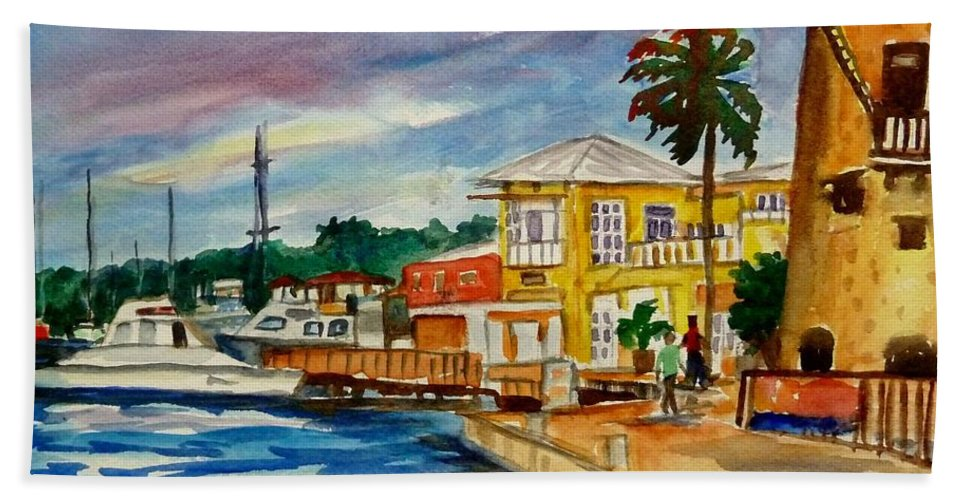 Landscape Beach Towel featuring the painting Down Town St Croix by Diane Elgin