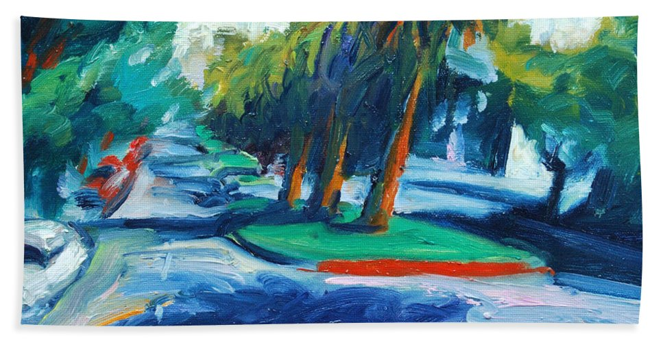 San Francisco Beach Towel featuring the painting Downhill by Rick Nederlof