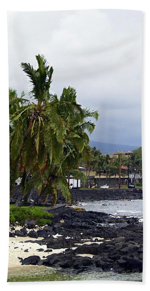 Landscape Beach Sheet featuring the painting Downtown Kona by Athala Carole Bruckner