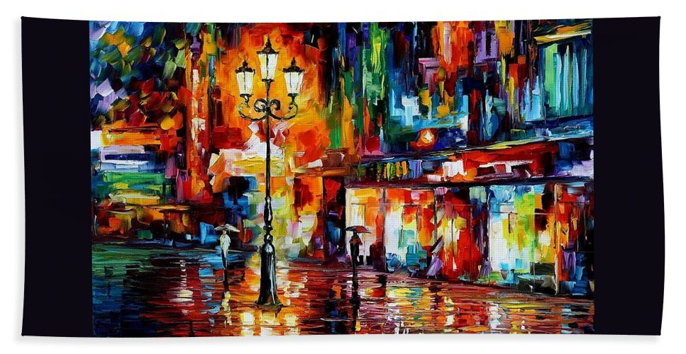 Afremov Beach Towel featuring the painting Downtown Lights by Leonid Afremov