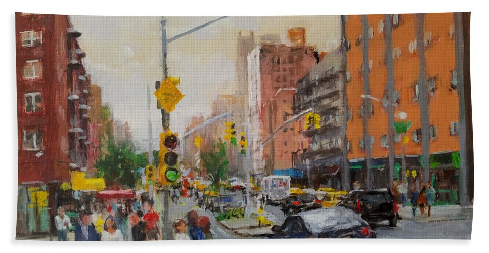 Landscape Beach Towel featuring the painting Downtown On Seventh No. 1 by Peter Salwen