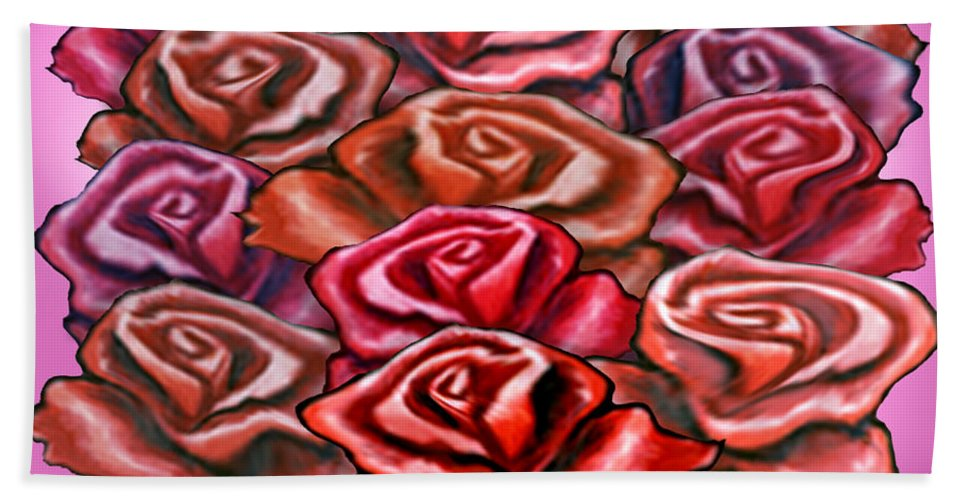 Rose Beach Towel featuring the painting Dozen Roses by Kevin Middleton