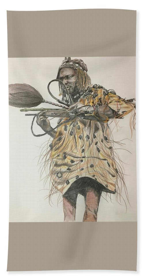 African Beach Towel featuring the drawing Dozo Warrior by Olivia Gbery