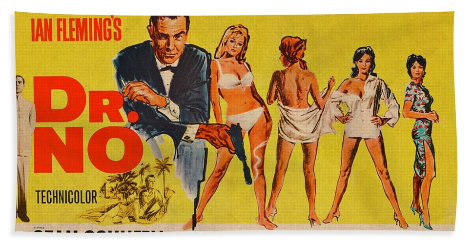 Dr No James Bond Sean Connery Vintage Movie Poster Beach Towel For Sale By Design Turnpike