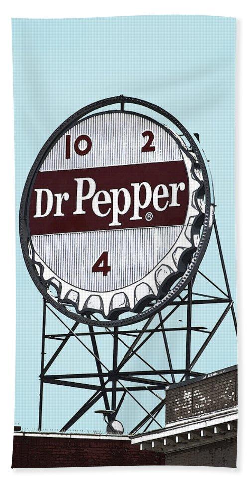 Dr Beach Towel featuring the photograph Dr Pepper Landmark Sign Roanoke Virginia by Teresa Mucha