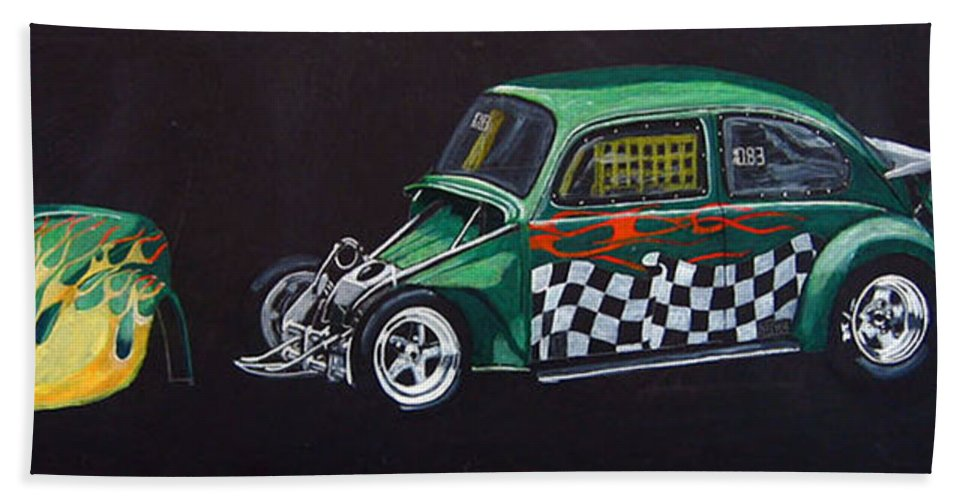 Vw Beach Towel featuring the painting Drag Racing Vw by Richard Le Page