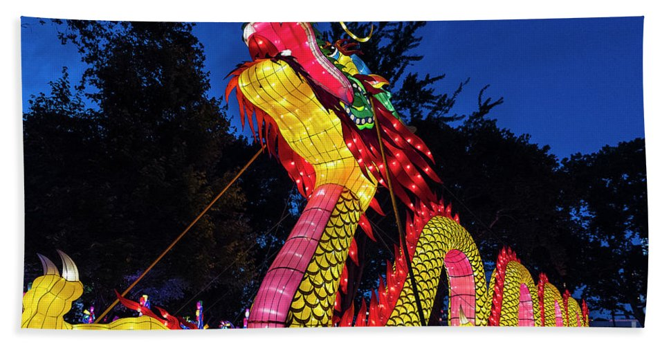 Chinese New Year Beach Towel featuring the photograph Dragan Lantern by John Greim
