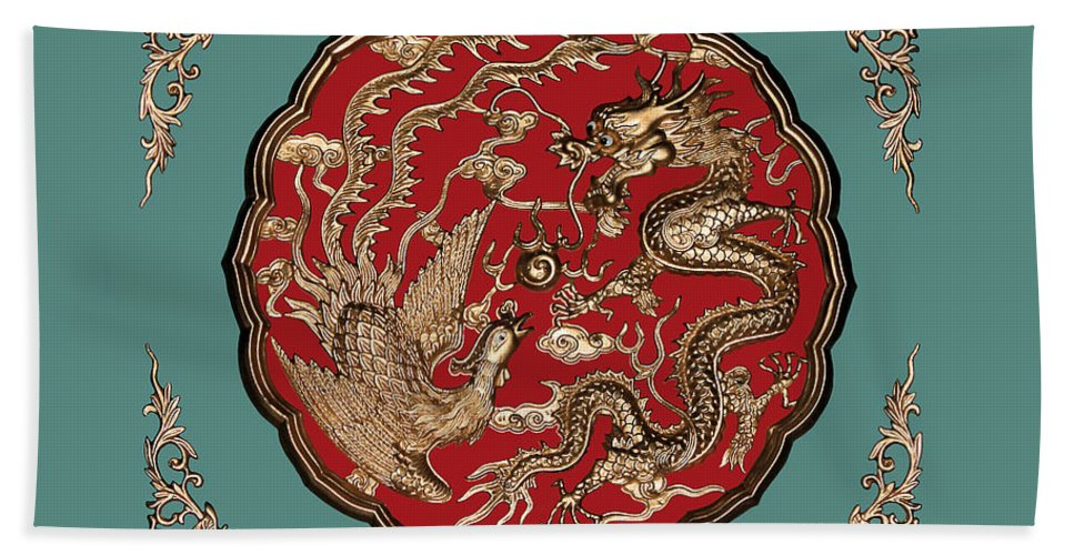 Dragon And Phoenix Beach Towel featuring the photograph Dragon And Phoenix by Kristin Elmquist