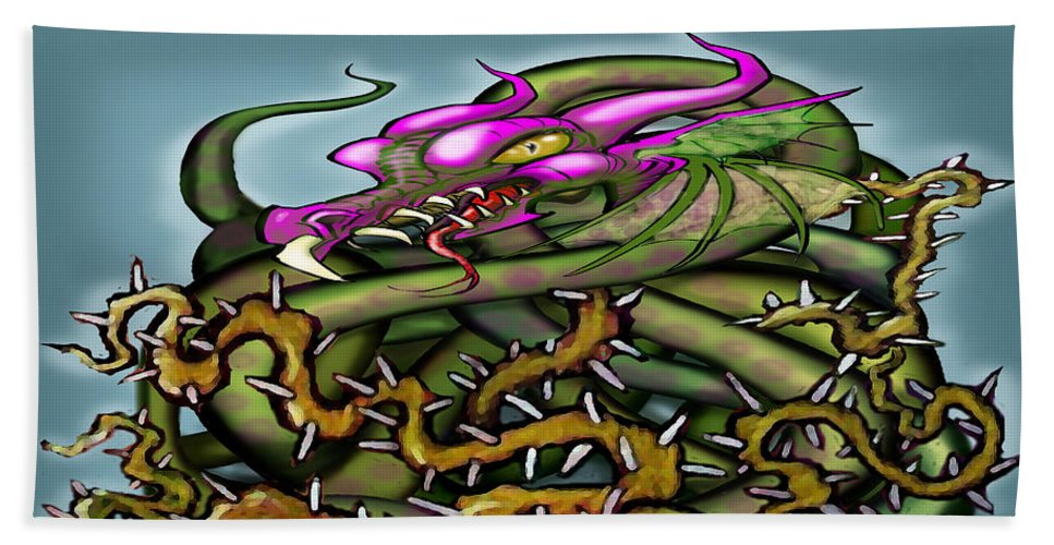 Dragon Beach Towel featuring the digital art Dragon In Thorns by Kevin Middleton