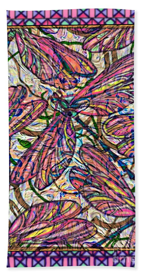 Dragonfly Deco Beach Towel featuring the mixed media Dragonfly Deco by Wbk