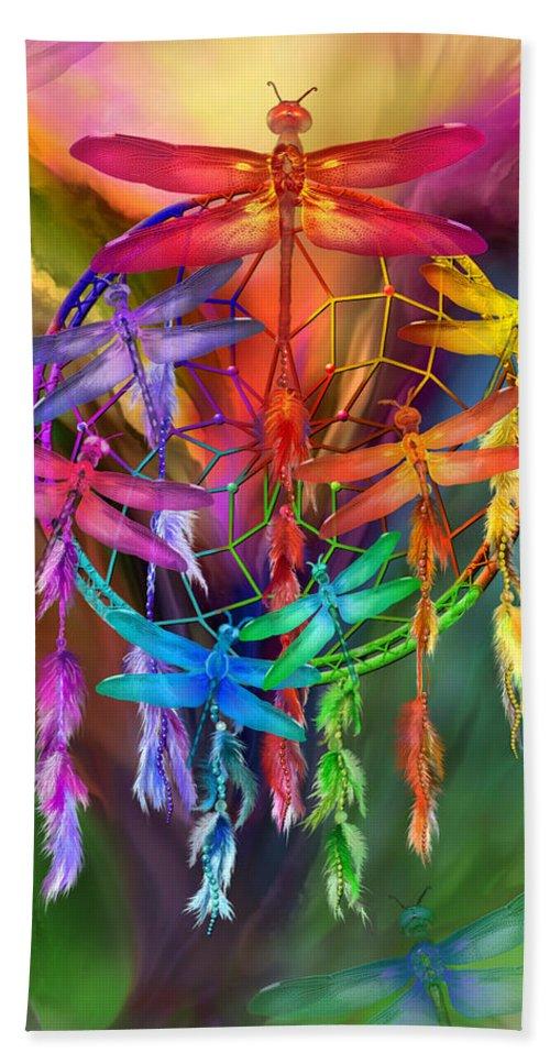Carol Cavalaris Beach Towel featuring the mixed media Dragonfly Dreams by Carol Cavalaris