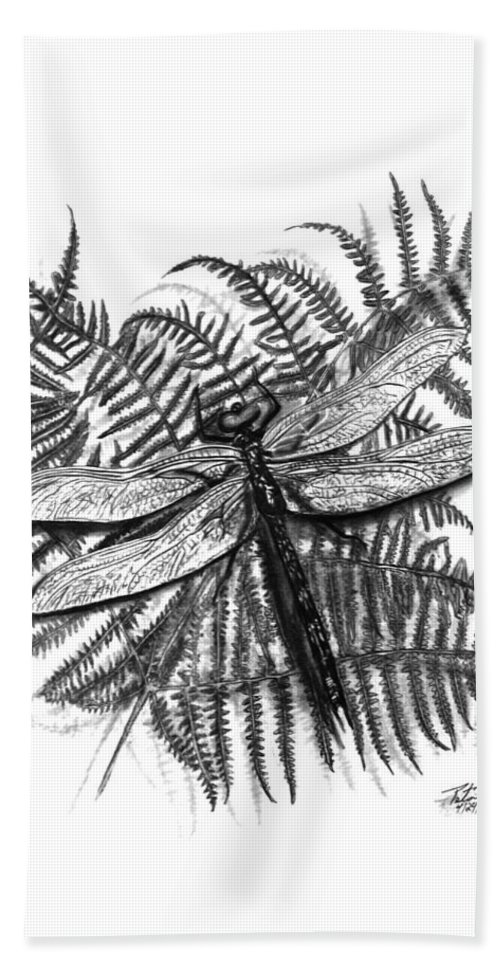 Dragonfly Beach Sheet featuring the drawing Dragonfly by Peter Piatt