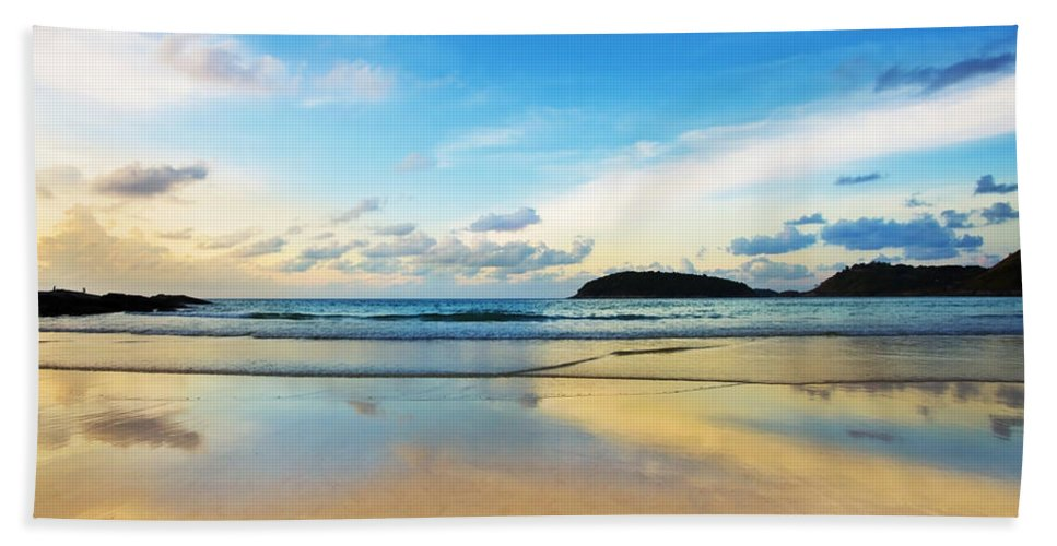 Area Beach Towel featuring the photograph Dramatic Scene Of Sunset On The Beach by Setsiri Silapasuwanchai