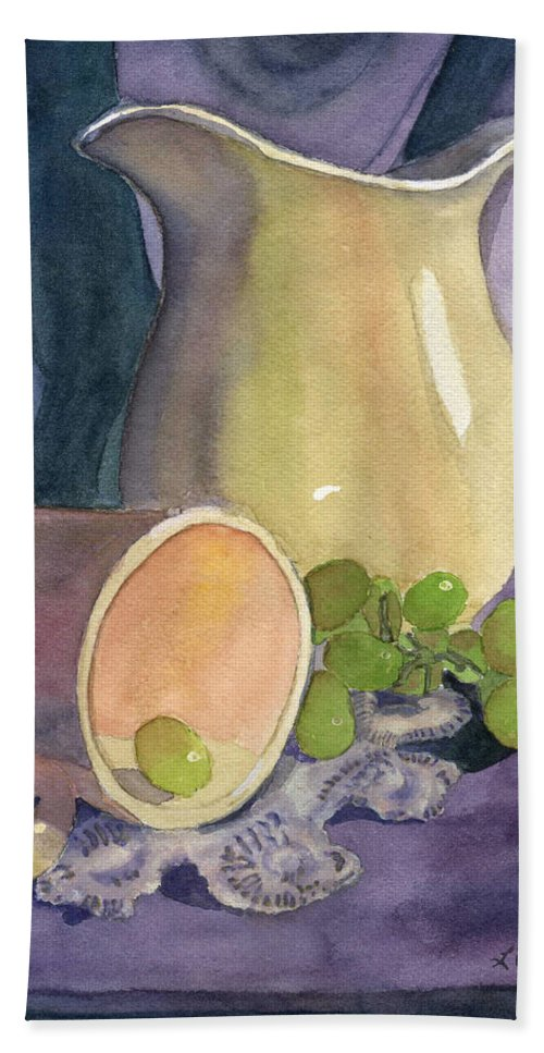 Watercolor Beach Towel featuring the painting Drapes And Grapes by Lynne Reichhart