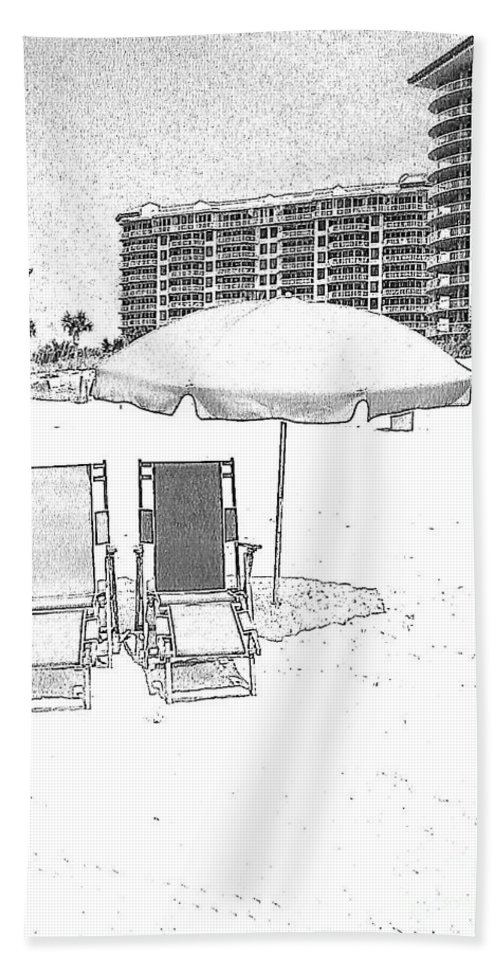 Black And White Beach Towel featuring the photograph Drawing The Beach Chairs by Michelle Powell