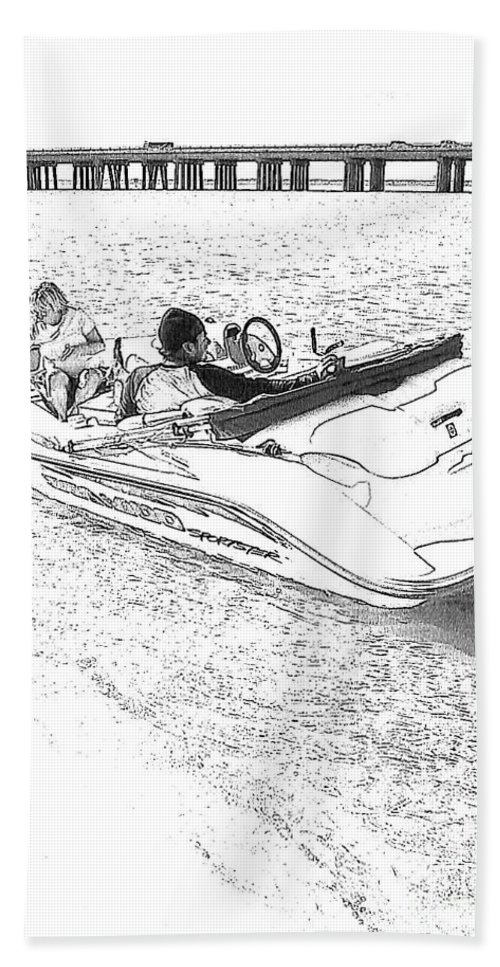 Boat Beach Towel featuring the photograph Drawing The Boat by Michelle Powell