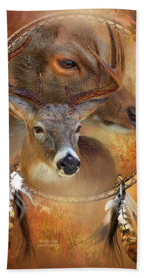 Carol Cavalaris Beach Towel featuring the mixed media Dream Catcher - Autumn Deer by Carol Cavalaris
