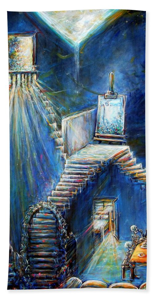 Dream House Beach Towel featuring the painting Dream House by Heather Calderon
