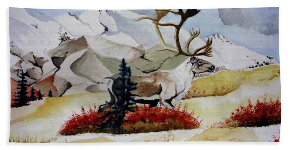 Alaska Beach Towel featuring the painting Dream Hunt by Jimmy Smith