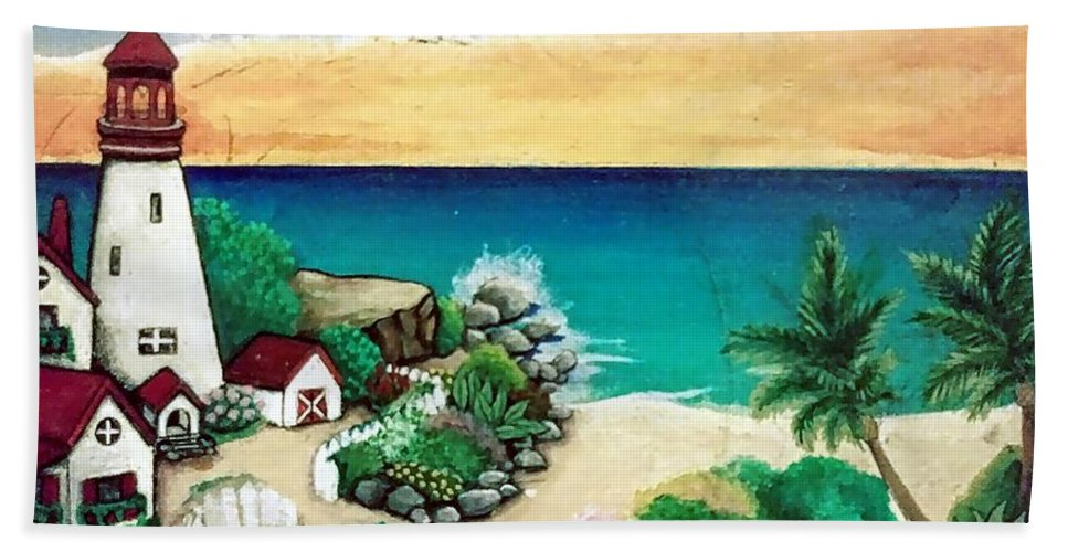 Beach Towel featuring the painting Dream Light House by Andrew De Santos