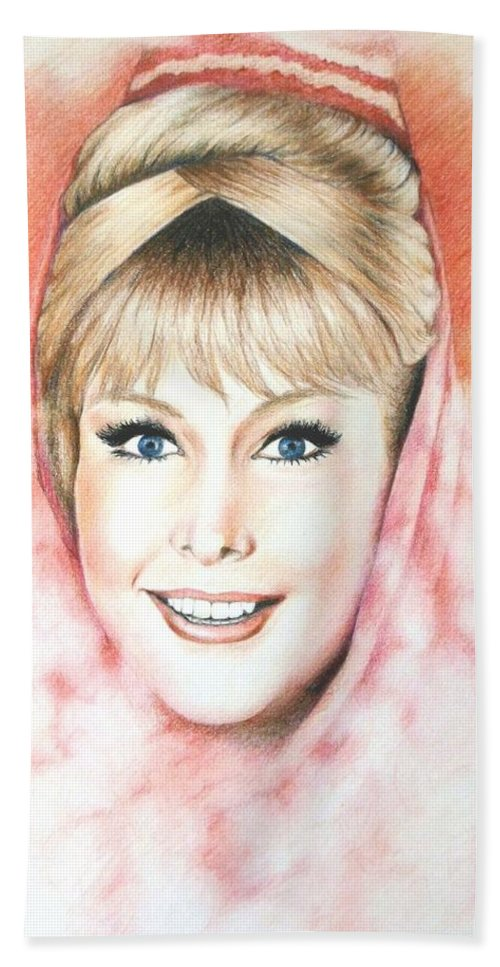 Dream Beach Towel featuring the drawing Dream Of Jeannie by Lena Day