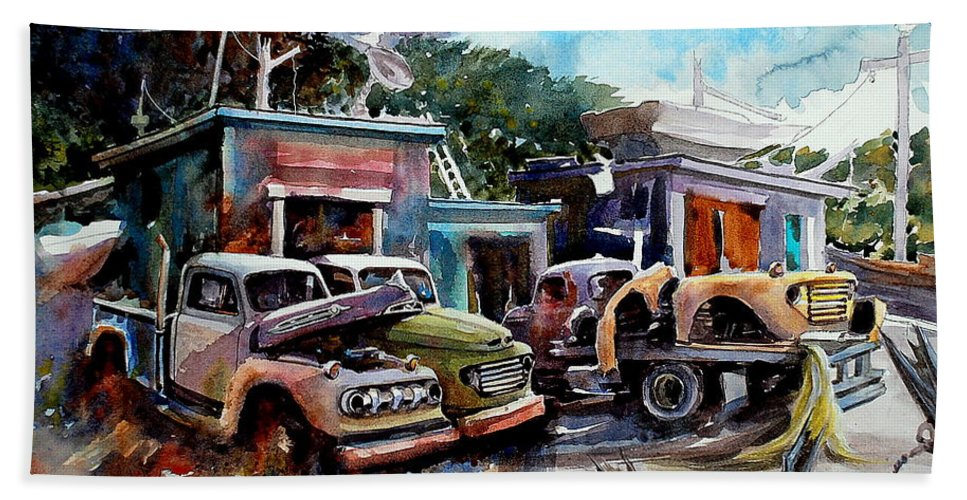 Trucks Buildings Boats Beach Towel featuring the painting Dreamboat Woodworks by Ron Morrison