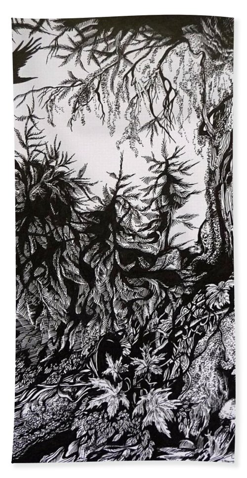 Pen And Ink Beach Towel featuring the drawing Dreaming Alaska.part One by Anna Duyunova