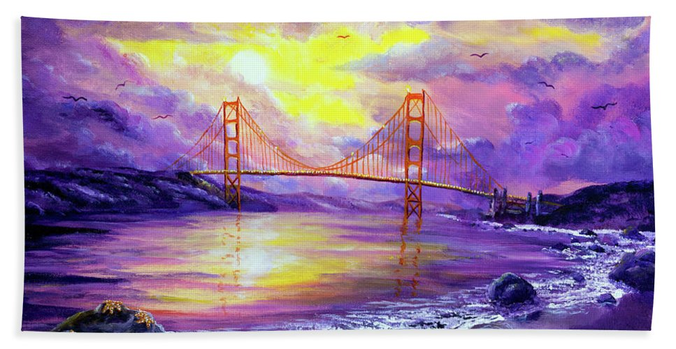 Sunset Beach Towel featuring the painting Dreaming Of San Francisco by Laura Iverson