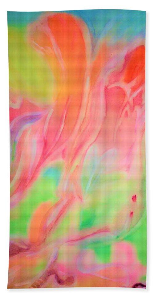 Dreamlike Beach Towel featuring the painting Dreamlike Flowers by Madina Kanunova