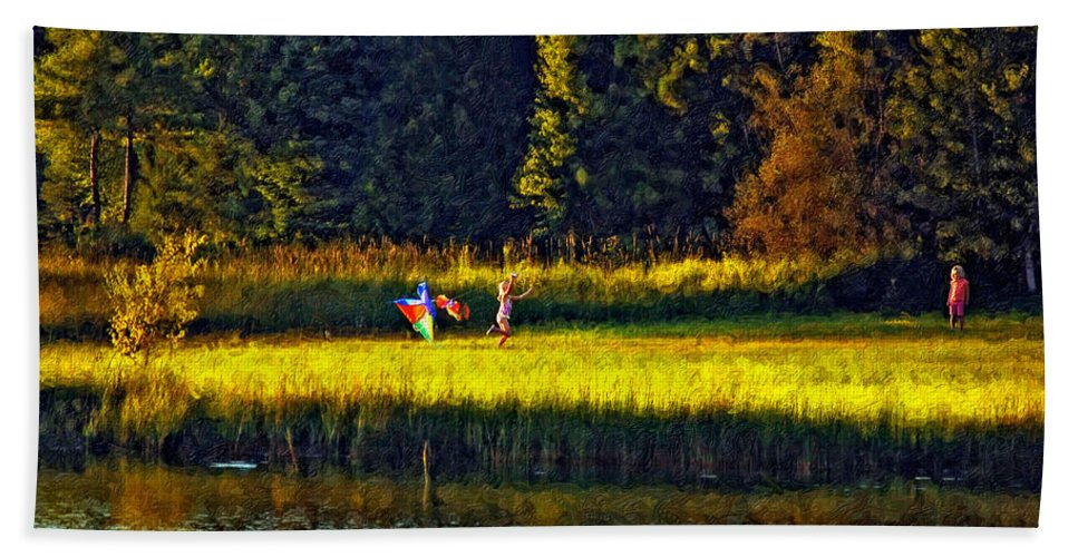 Kids Beach Towel featuring the photograph Dreams Can Fly impasto by Steve Harrington