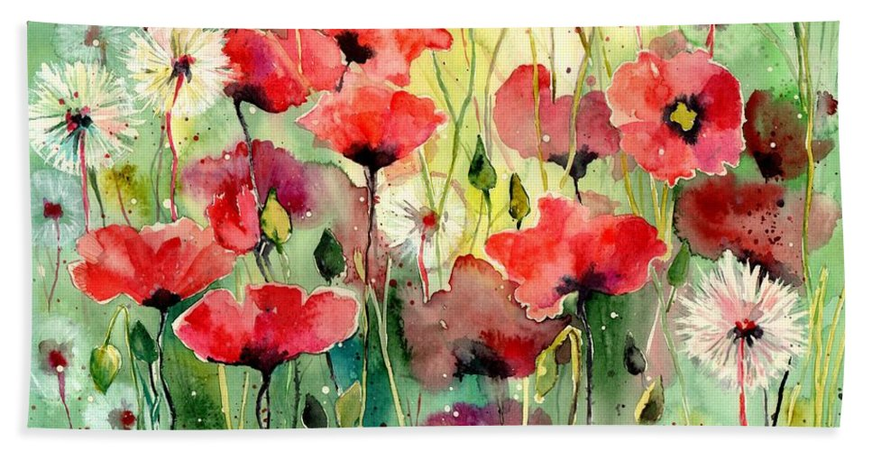Red Beach Towel featuring the painting Dreamy Hot Summer Fields by Suzann Sines