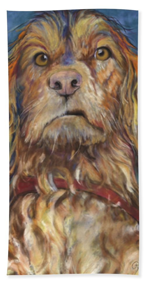 Golden Retriever Painting Beach Towel featuring the pastel Drenched by Pat Saunders-White