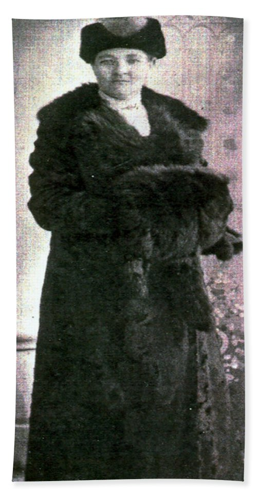 Classic Black And White Old Photo Pioneers Old Days 1900s Fur Coat Beach Towel featuring the photograph Dressed In Fur by Andrea Lawrence