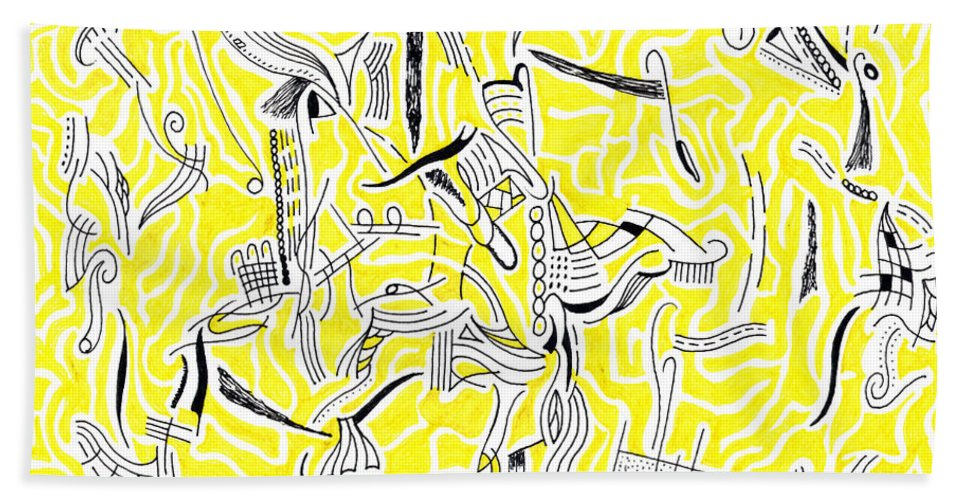 Mazes Beach Towel featuring the drawing Drifting by Steven Natanson